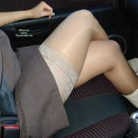 Sitting In Car Showing Legs And Stockings - Sexy Legs
