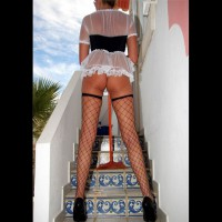 Sexy French Maid Rear View - Heels, Long Legs, Stockings, Sexy Ass
