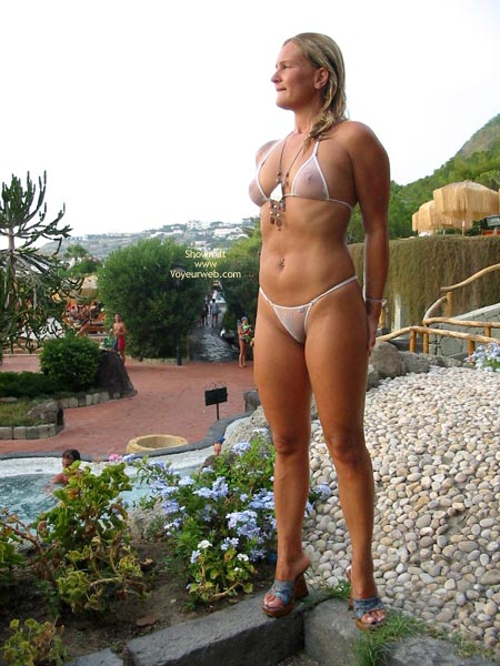 Pic #1 - See Through Bikini - Bikini, Blonde Hair, Nipples, Nude Outdoors , See Through Bikini, Blonde Hair, See-thru White Bikini, See-thru Nipples, See-thru Outdoors, Posing By Pool