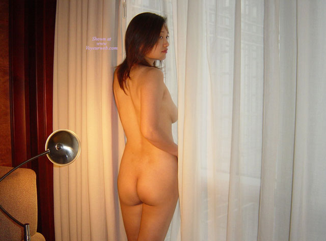 Looking Over Shoulder Rear View Asian Nude Of