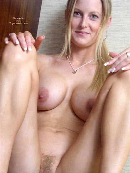 blonde pubic hair, blonde hair, huge tits, sitting girl, full frontal ...