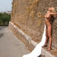 Nude Against Building - Blonde Hair, Heels, Nude Outdoors