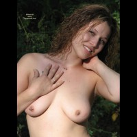Pierced Nipple On Right Breaast - Brown Hair, Topless, Looking At The Camera, Small Areolas