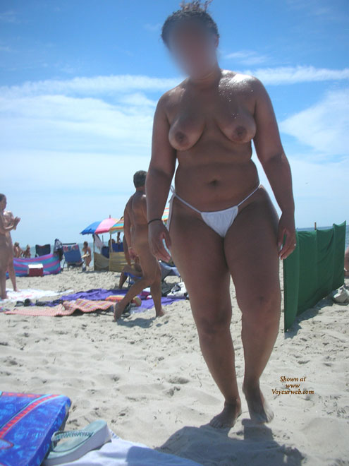 Pic #1 - Wet And Oiled @ The Beach , Here's My Lovely Wife Again Taking In Some Waves And Sun At A Local Nude Beach. I Hope You Enjoy.