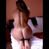 Kneeling With Hands In Front To Put Tension In Her Back Muscles - Round Ass, Tan Lines