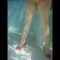 Wearing High Heels In Pool - Heels, Shaved Pussy