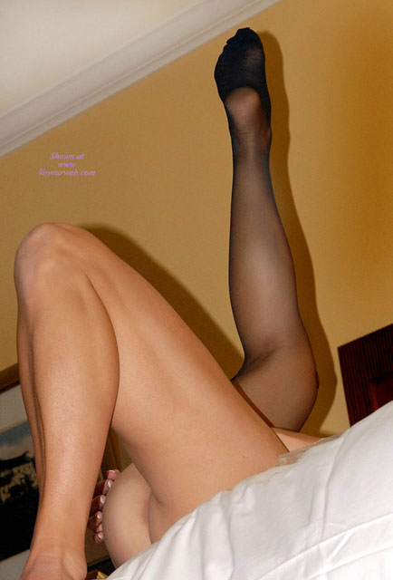 Stocking Feet Fetish , Legs In The Air, Black Stocking, Abstract Leg Pose, One Black Stocking, Stockinged Leg In Air, Removing Last Stocking, Legs In Bed, Lying On A Bed, One Stocking On, One Stocking Off