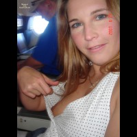 Girl Flashing On A Plane - Blonde Hair, Blue Eyes, Flashing Tits, Flashing, Hairy Bush, Small Tits, Naked Girl