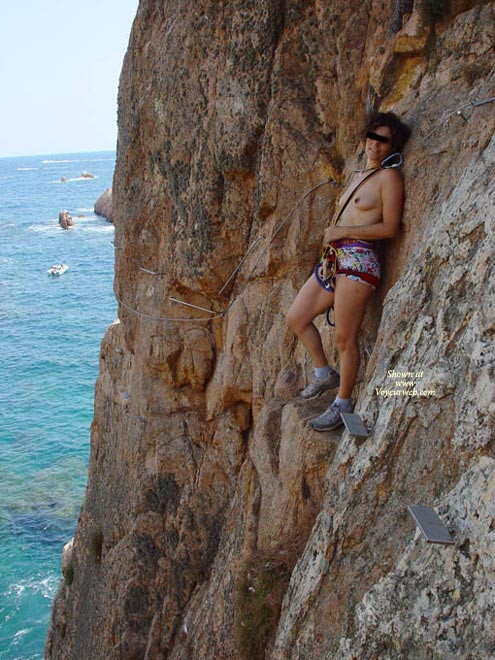 Pic #1 - Extreme Climbing Topless - Topless , Hiking Boots, Multi Colored Shorts, Climbing Harness, Outdoors, Public
