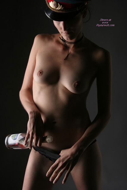 Pic #1 - Naked Standing Holding Wine Bottle, Artistic - Erect Nipples, Perky Tits, Small Breasts, Small Tits, Topless , Hiding In The Shadows, Tight Body, Wine And Woman, Artistic On Dark Background With Shadows, Small Breasts And Erected Nipples, Artsy Naked Photo, Topless Wearing Miltary Hat, Thin Arms And Petite Body