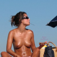 Topless Lunch - Firm Tits, Sunglasses, Topless, Beach Voyeur, Naked Girl, Nude Amateur