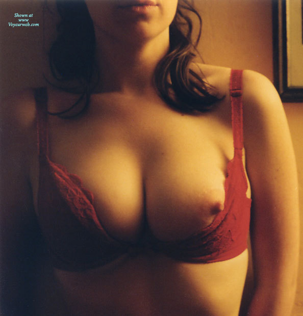 Pic #1 - Seductive Nipple - Brunette Hair, Gorgeous Nipple, Nipple Slip, One Erect Nipple, Breasts Pushed Together, Aroused Nipple, Red Demi Bra, Nipple Peeking Out, Nip Slip, Medium Round Breasts, Brunette With One Nipple Showing, Erect Nipple Peeping Out, Red Applique Bra, Pointed Nipple