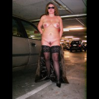 Nude In Parking Garage By Car - Nude In Public, Sunglasses, Trimmed Pussy, Naked Girl, Nude Amateur