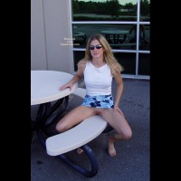 Sitting Outside Showing Pussy - Shaved Pussy