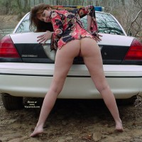 Brunette Showing Ass And Legs On Police Car - Brunette Hair, Naked Girl, Nude Amateur