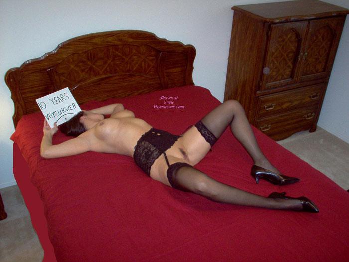 Pic #1 - Nude Girl Holding A Sign - Stockings, Naked Girl, Nude Amateur , Naked On Bed, Nude Girl On Bed Spreading Her Legs, Black Garter Belt, Black Patent Short Heels, Black Lace Garter Belt, Lace Topped Black Sheer Stockings, 10 Years Voyeurweb