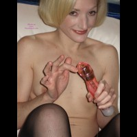 Petite With Vibrator - Blonde Hair, Small Tits, Stockings