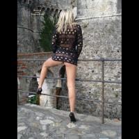 Pantyless Girl At A Castle - Flashing, Heels, Long Legs, Spread Legs