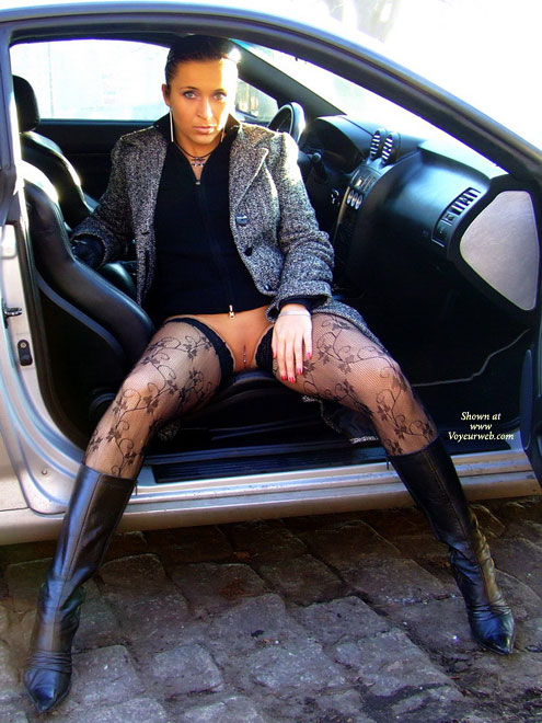 Pic #1 - Pierced Pussy In A Car - Exhibitionist, Flashing, Long Legs, Stockings , Flashing Pussy, Stockings, Boots And Pierced Pussy, No Panties, Pantiless, Pussy Piercing, Long High Heeled Boots, Auto Erotic, Exhibitionist Outside