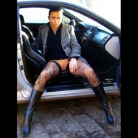 Pierced Pussy In A Car - Exhibitionist, Flashing, Long Legs, Stockings