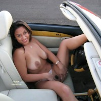 Flashing Pussy In Car - Dark Hair, Flashing, Landing Strip, Large Aerolas, Long Hair , Big Breasts, Patch Of Landing Strip, Spread In The Drivers Seat, Large Dark Round Areolas, Smiling To Camera, Left Leg On Steering Wheel, White Panty, Holding Panties Aside