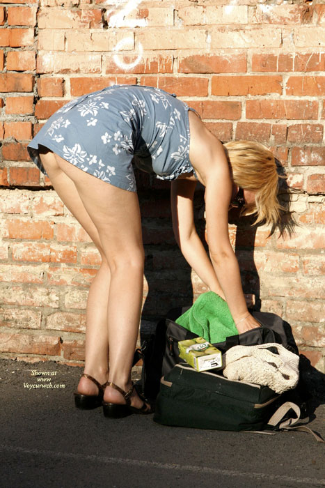 Street Voyeur - Blonde Hair , Floral Cotton Mini-dress, Short Skirt, Bending Over