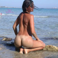 Sexy Beach Girl - Dark Hair, Long Hair, Nude Beach, Round Ass, Beach Voyeur, Naked Girl, Nude Amateur