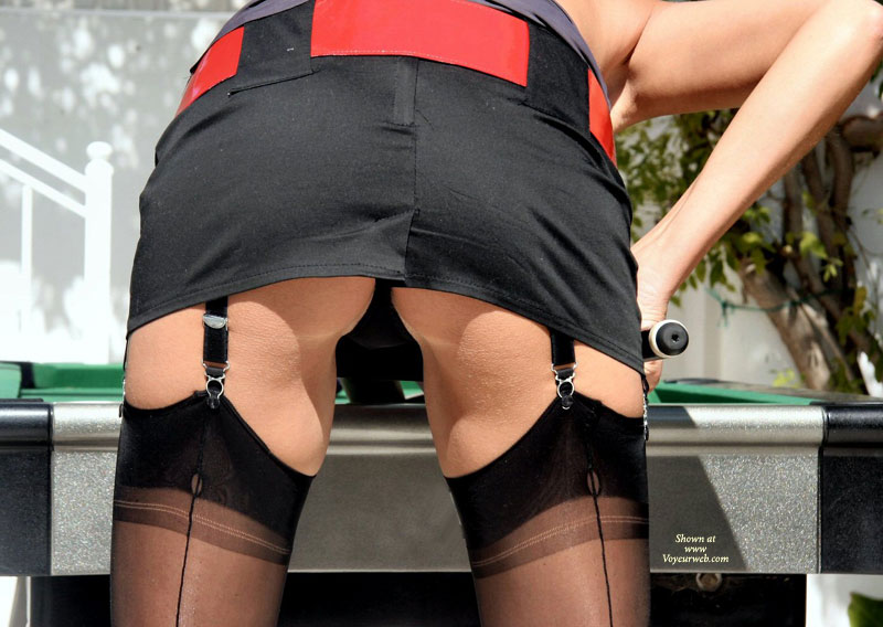 Pic #1 - Upskirt Of Pool Player - Upskirt , Black Mini Skirt, Voyeur Shot Of Pool Player, Thigh High Stockings, Nylons, Girl Playing Pool, Bent Over, Garter Belt, Outdoor Ass Shot, Red Belt