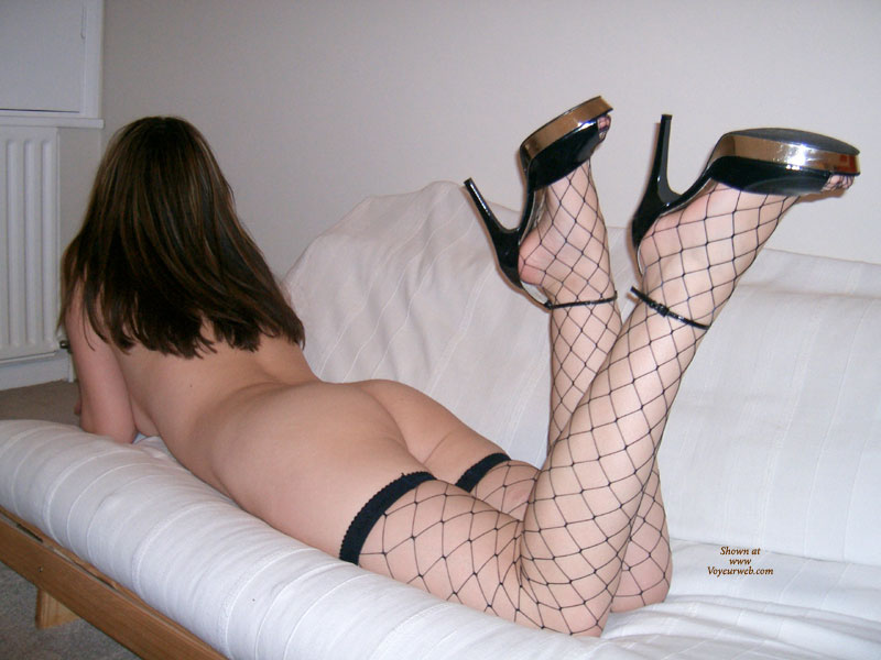 Pic #1 - Whalenet Stockings - Heels, Naked Girl, Nude Amateur , Milky Skin, Nude Lying On Futon, Babe In Fishnet, Legs In Air, Ankles Crossed, Fishnet Stockings, Laying Face Down On A Couch, Black High Heel Sandals, Ankle Strap High Heels, Black Fishnet, Bottoms Up