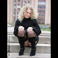 Pantyless Girl Sitting Outdoors - Black Hair, Flashing, Stockings , Pantyless, Stocking Tops, Flashing Pussy Outdoors, Cute Face, Black Winter Coat, Curly Clonde Hair, Black Hold Ups, Black Skirt, Black Knee-high Boots