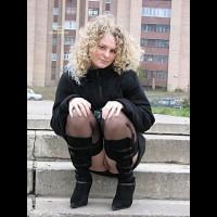 Pantyless Girl Sitting Outdoors - Black Hair, Flashing, Stockings