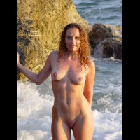 Brown Curly Hair Naked In The Surf - Brown Hair, Erect Nipples, Natural Tits, Perfect Tits, Shaved Pussy, Naked Girl, Nude Amateur