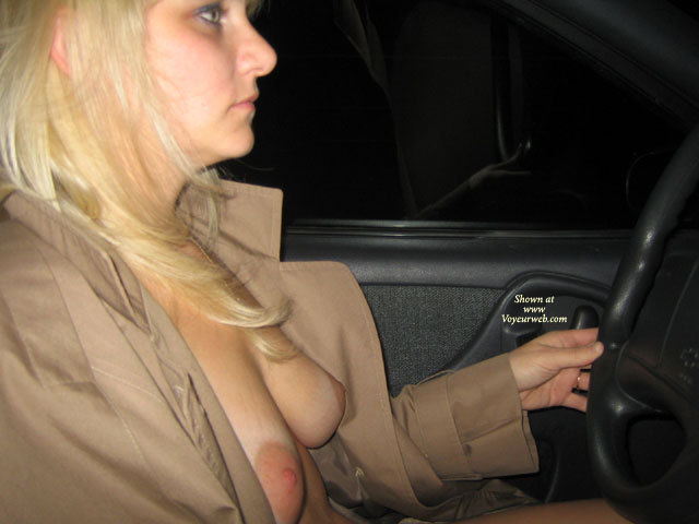 Pic #1 - Exposing Breasts In Car - Blonde Hair, Large Aerolas, Natural Tits, Naked Girl, Nude Amateur , Breasts Exposed Under Coat, Profile Shot, Medium Blonde Hair, Driving At Night, Driving Car Semi-nude, Tits With Natural Hang, Beige Top Coat