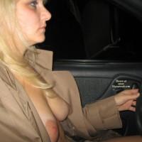 Exposing Breasts In Car - Blonde Hair, Large Aerolas, Natural Tits, Naked Girl, Nude Amateur