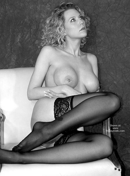 Pic #1 - Blond - Blonde Hair, Hard Nipple , Blond, Hard Nipple, Legs, Black And White, Large Breast