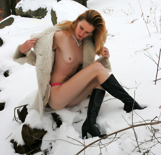 Pic #1 - Naked In The Snow - Long Legs, Naked Girl, Nude Amateur , Nude In Winter, Diamond Necklace, Black Calf Boots, Winter Coat, Tiny Tits, Red Panties, Petite Breasts, Long Lean Legs, Fleece Coat