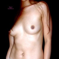 Female Torso In Sepia - Brown Hair, Erect Nipples, Long Hair, Small Breasts