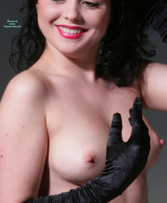 Pic #1 - Smiling Topless Girl Wearing Long Black Gloves - Black Hair, Brunette Hair, Erect Nipples, Perfect Tits, Topless , Medium Tits With Erected Nipples, Perky Nipples, Topless Brunette, Lipstick, Smiling Topless With Red Lipstick, Naked With Black Gloves