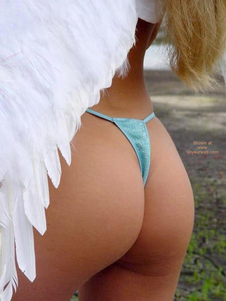 Pic #1 - Angel Wings - G String , Angel Wings, Blue Thong G String, Closeup Ass, Thong Shot