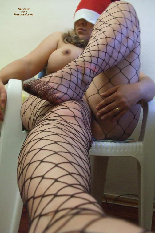 Pic #1 - Nude Girl In Whalenets - Stockings, Naked Girl, Nude Amateur , Nude Girl Posing On A Chair, Fishnet, Red Santa Hat, Black Fence Net Stockings, Dressed In Net, Black Fishnets