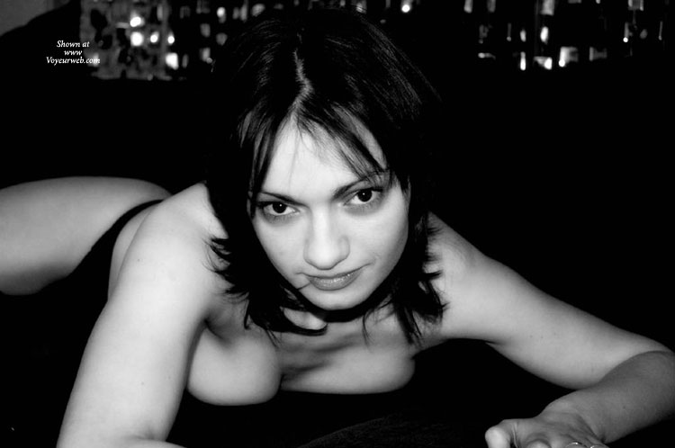 Pic #1 - Squashed Breasts - Topless , Black And White, Topless Laying Face Down