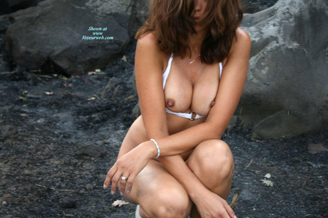 Pic #1 - Nipples Peeking Out Of Bra - Brown Hair, Brunette Hair, Dark Hair, Erect Nipples , Big Squeezed Boobs, Nipples Slipping Out, Erect Brown Nipples, Frontal View, Outdoors On The Rocks, Naked Outdoors, Dark Nipples, Squatting Bottomless
