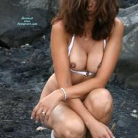 Nipples Peeking Out Of Bra - Brown Hair, Brunette Hair, Dark Hair, Erect Nipples