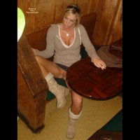 Exposed In Public Sitting In Restaurant No Panties - Blonde Hair, Flashing, Shaved Pussy, Spread Legs