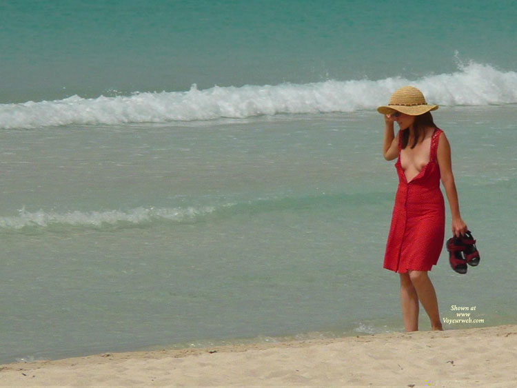 Pic #1 - Airing The Tits - Brunette Hair, Small Tits, Sunglasses, Beach Voyeur , Brunette At The Beach With Exposed Tits, Open Red Sundressand Hat, Exposing Breasts, Beach, Red Button Down Dress, Walking Along The Beach With Open Dress, Open Dress, Open Red Dress, Tit Flash At The Beach, Straw Hat, Walking Down Beach In Opened Dress