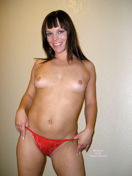 Pic #1 - Topless Girl Smiling - Big Tits, Brown Hair, Small Breasts, Small Tits, Topless Girl, Topless, Small Areolas , Topless Girl Standing, Indoor Tits, Supple Young Body, Red Thong, Big Beautiful Smile, Uneven Breaasts