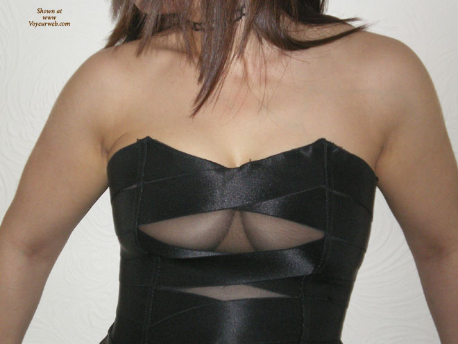 Pic #1 - Dress With Cleavage Window , Strapless Black Dress, Black Bustier, Squished Bobs, Dress With A Window, Black Satin, Little Black Dress, Slits And Tits