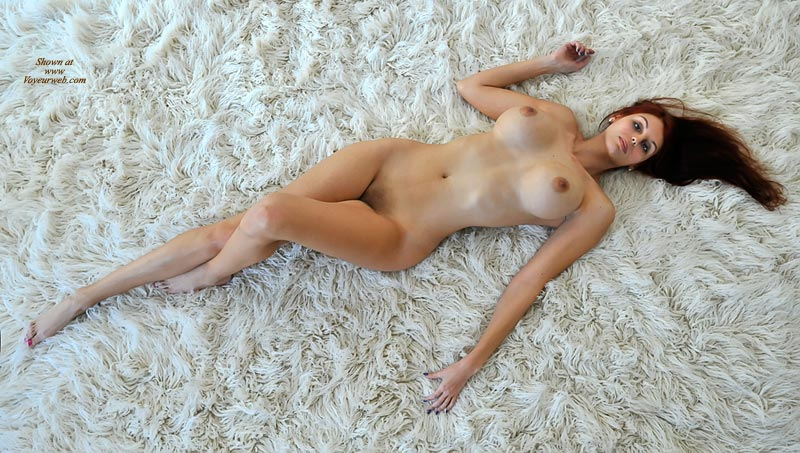 Pic #1 - Lying On Rug - Brown Hair, Large Breasts, Long Hair, Long Legs, Naked Girl, Nude Amateur , Exceptionly Large Breasts, Extremely Thin Woman, Legs Together One Flat One Bent, Big Breasts On A Rug, Huge Boobs, One Knee Raised, Horizontal Position, Dark Areolas, Frontal Nude Lying On Rug From Above