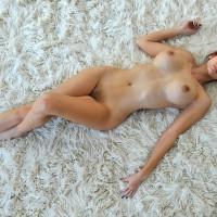 Lying On Rug - Brown Hair, Large Breasts, Long Hair, Long Legs, Naked Girl, Nude Amateur
