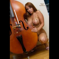 Kneeling Nude Frontal With Bass Violn - Large Aerolas, Large Breasts, Long Hair, Red Hair, Naked Girl, Nude Amateur, Small Areolas